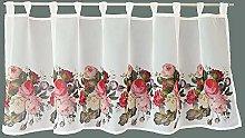 Visillo de cocina, cortina, tela opaca, con rosas