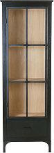 Vitrina con 1 puerta negra de vidrio templado