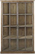 Vitrina con 2 puertas de pino reciclado y vidrio