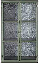 Vitrina de 2 puertas de metal verde claro