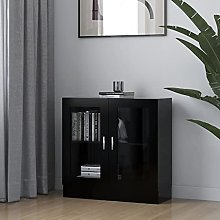 Vitrina de aglomerado Negro 82,5x30,5x80 cm