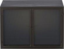 Vitrina industrial de 2 puertas de metal negro mate