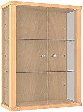 Vitrina Mueble de pared 80x60x25 cm haya con 2