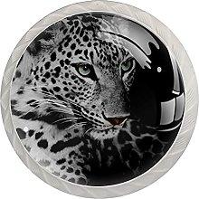 WARMFM Animal leopardo Juego de 4 pomos para