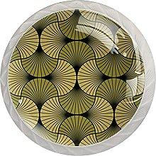 WARMFM Art Decó Concha Dorado Negro Juego de 4