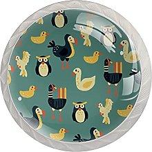 WARMFM Aves Juego de 4 pomos para muebles para el