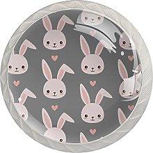 WARMFM Conejos lindos Juego de 4 pomos para