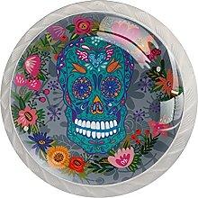 WARMFM Cráneo floral Juego de 4 pomos para