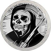 WARMFM Esqueleto de calavera Juego de 4 pomos para
