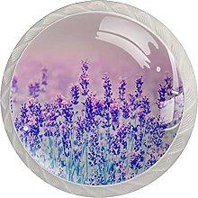 WARMFM Flor de lavanda Juego de 4 pomos para