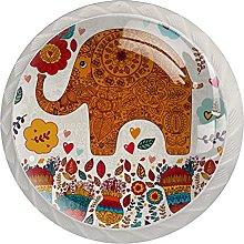 WARMFM Flores De Elefante Juego de 4 pomos para