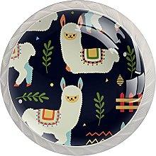 WARMFM Llama Alpaca Juego de 4 pomos para muebles