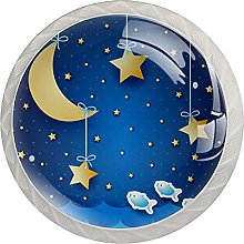 WARMFM Luna de fondo azul Juego de 4 pomos para