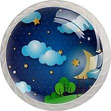 WARMFM Nubes Luna Noche Paisaje Juego de 4 pomos