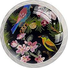WARMFM Pájaros Coloridos Flores Hojas Juego de 4