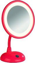 Wenko Espejo de Pie para Cosmética con LED, Rojo,