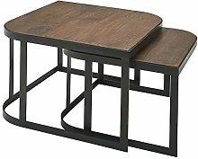 Wohnling Juego de 2 mesas de café de madera