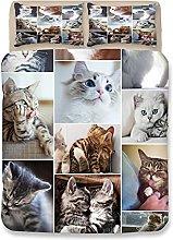 XFMF Ropa de cama 3D con diseño de gato, funda de