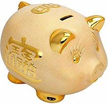 XHAEJ 6 Pulgadas de Oro Cerdo Afortunado Caja de