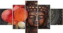 YABINGA Cuadro de Lienzo Abstracto Dorado Buda