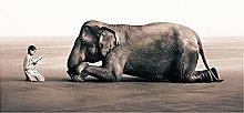 YABINGA Impresión en Lienzo Elefante Arte de la