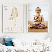 YHJK Cartel de Arte Cartel de Estatua de Buda Zen