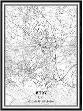 YMXCNM Cuadro sobre Lienzo,Bury UK Map Wall