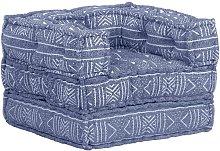 Youthup - Puf modular de tela índigo - Azul