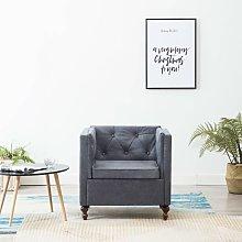 Youthup - Sillón tapizado de tela gris - Gris