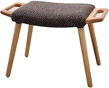 YQG Reposapiés de madera con funda de lino y