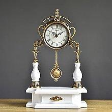 YSMLL Madera sólida de estilo europeo con reloj