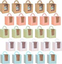 YuChiSX 25 Piezas Cajas de Cupcakes para Regalo,