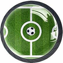 Z&Q Tirador Pomo Mueble Infantil Campo de Futbol