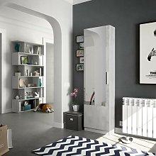 Zapatero 180 cm Cemento con puerta de espejo |