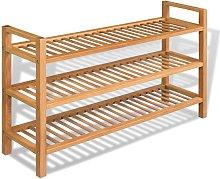 Zapatero con 3 estantes madera maciza de roble