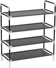 Zapatero con 4 estantes de metal y textil no