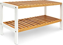 - Zapatero con dos niveles, bambú, 70 x 25 x 33