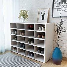 Zapatero de madera aglomerada blanco 92x30x67,5 cm
