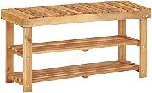 Zapatero de madera maciza de acacia 90x32x46 cm -