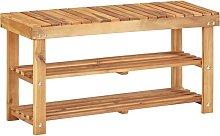 Zapatero de madera maciza de acacia 90x32x46 cm