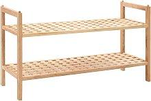 Zapatero de madera maciza de nogal 69x26x40 cm -