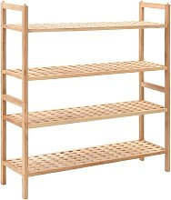 Zapatero de madera maciza de nogal 69x26x81 cm -