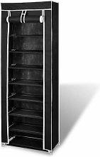 Zapatero de tela con cubierta negro 57x29x162 cm -