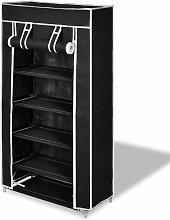 Zapatero de tela con cubierta negro 58x28x106 cm -