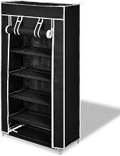 Zapatero de tela con cubierta negro 58x28x106 cm