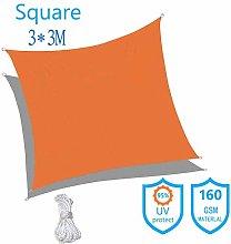 ZJZ Sun Shade Square 3x3m Gris Impermeable Sun