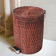 ZWW electronic Cubo de la Basura Rattan Weaving