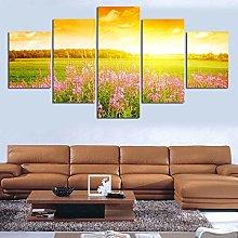 zxiany 5 Piezas de Arte de Pared Flor bajo el Sol